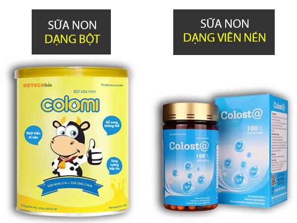 Phân loại sữa non colomi