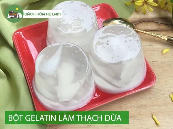 Cách làm thạch dừa bằng bột gelatin