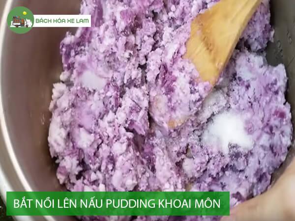 Nấu pudding khoai môn