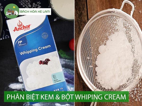Phân biệt kem whipping cream và bột whipping cream