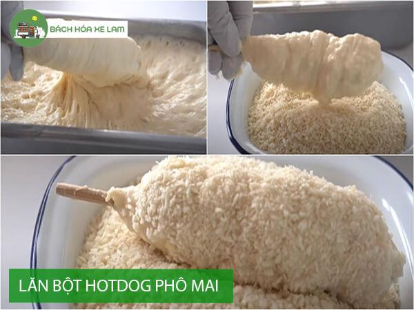 Lăn bột bánh hotdog phô mai hàn quốc